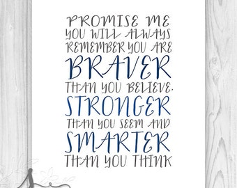 Promise me you'll always remember, You're braver than you believe... Christopher Robin Typographic Print, Nursery Art, Nursery Decor Poster