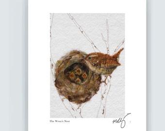 Wren wall art, wren bird and nest print