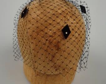 Vintage Birdcage Veil Hat Fascinator - 50s - ECS