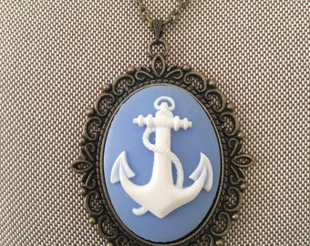 Blue Anchor Cameo Necklace on a Filigree Base