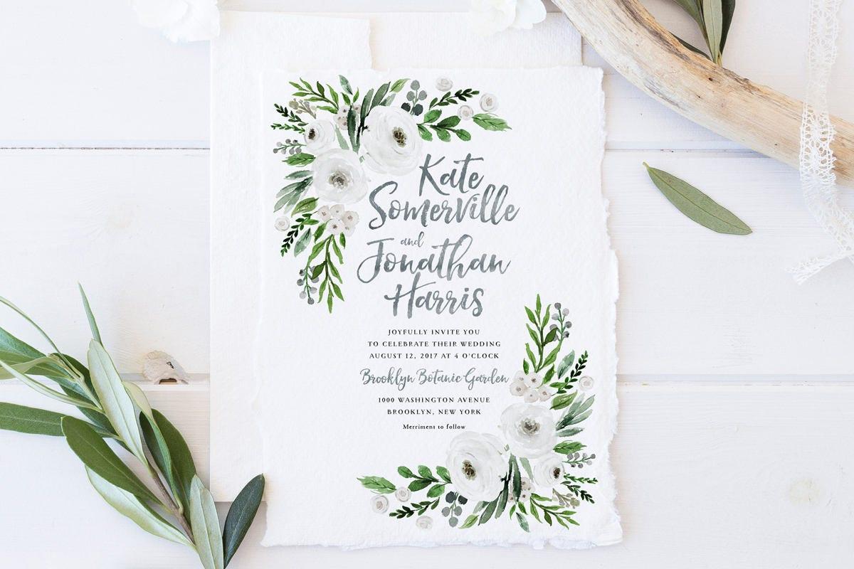 One Page Wedding Invitations: Wedding Invitation Set Printable Spring Summer Wedding