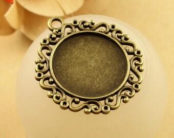 Round Photo Pendant Blank - 1inch 25mm Glass Pendant Tray Setting - Antique Bronze Cabochon Setting - Glass Bezels - Blank Bezel Tray