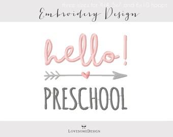 Hello Preschool Three Sizes Embroidery Design, Boy and Girl Preschooler Tshirt, Hello Preschool Embroidery Design, Calligraphy