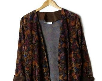 Vintage Dark Floral Slouchy Collarless Blazer/Cardigan from 80's*