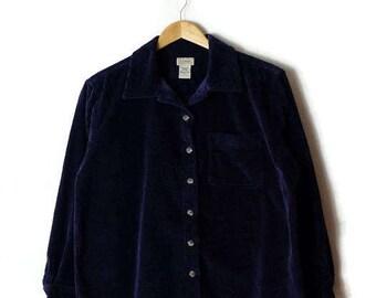 Vintage Dark Blue /Navy Corduroy Long Sleeve Blouse from 90's*