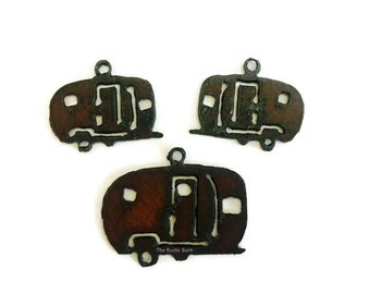 TRAILER AIRSTREAM CAMPER Set Charm Pendant Cutout Made of Rustic Rusty Rusted Recycled Metal