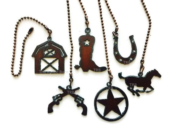 CEILING FAN PULL Western Fan Barn Guns Boot Horse Horseshoe or Tx star charm size made of Rusty Rustic Recycled Metal