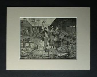 1880s Antique Aberdeen Fish Market Print, Available Framed, Fishing Art, Scottish Picture, Fisherman Gift, Aberdeenshire Decor, Fish Artwork