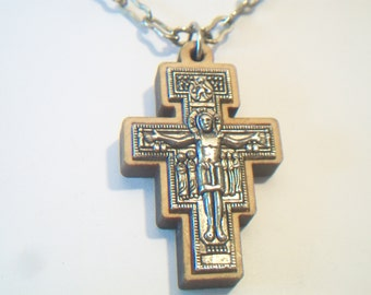 Vintage San Damiano Crucifix Cross Pendant Necklace Religious Jewelry