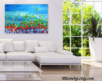 "textured art, pallet knife painting, textured flowers, paintings with flowers,painting on canvas, colorful painting, abstract art, 36"" x 24"""