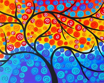 "bright art, large painting, large paintings, on canvas, tree of life, tree designs, tree art, large canvas painting, canvas art, art 36""x24"""