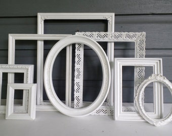 Shabby Chic White Picture Frame Set  - Custom Wall Decor - Decorative Nursery Frames - Wedding - Vintage Ornate - Distressed - Gallery Wall