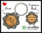 Personalized Bicycle Chain Keychain w/ Couples Initials in Hearts & GPS Coordinates Gift, Boyfriend Girlfriend Wife Husband Valentines Day