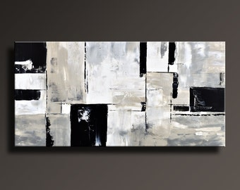 ABSTRACT PAINTING Black White Gray Painting Original Large Canvas Art Contemporary Abstract Modern Art Wall Decor - Unstretched - 22Gi2