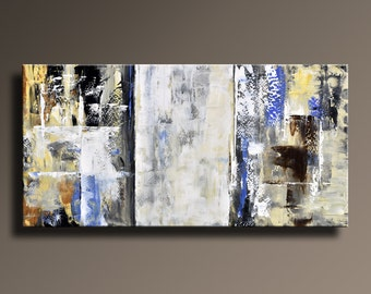 "48"" ORIGINAL ABSTRACT Painting Canvas Art Rustic Neutral Contemporary Art Gray Brown White Blue Black Yellow Home decor - Unstretched-AB11i1"