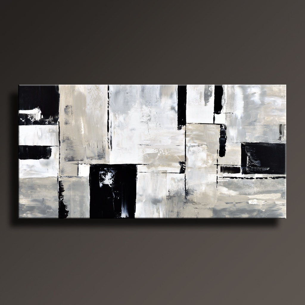 Abstract painting black white gray painting original large zoom amipublicfo Gallery