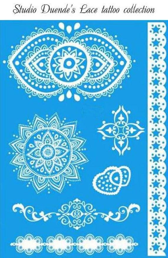 White Henna Tattoos, Henna Tattoos, White Lace Tattoos, White Tattoos, Bridal Tattoos, Wedding Tattoos