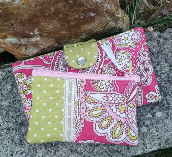Pink and Green Quilted Checkbook Cover with matching Coin Purse, Checkbook & Coin Purse Gift Set