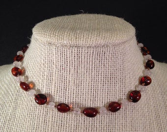 Dark Cognac Baltic Amber and Rose Quartz Teething Necklace 12 inches