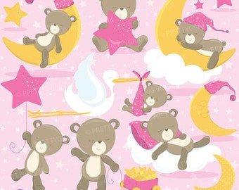 80% OFF SALE Baby girl bear clipart commercial use, baby bear vector graphics, digital clip art, digital images - CL773