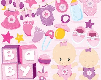 80% OFF SALE Baby girl clipart commercial use, baby shower vector graphics, pink digital clip art, digital images - CL828