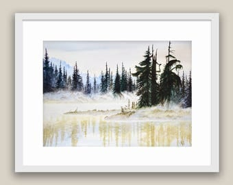 Watercolor Painting Foggy Morning Canadian landscape Father's Day