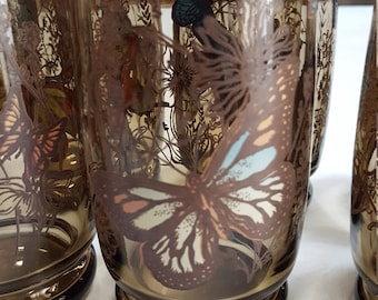 Vintage Set Of Eight Buterfly Glasses