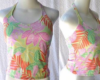 90s Lilly Pulitzer Tankini Swimsuit || Lilly Pulitzer Bathing Suit. Retro 90s Halter Top Swimsuit. 1990s Tankini Swimsuit || medium. size 6