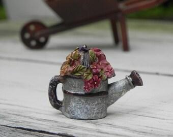 Miniature Watering Can Water Can - fairy garden accessory - terrarium supply - miniature wheelbarrow - fairy garden accessories
