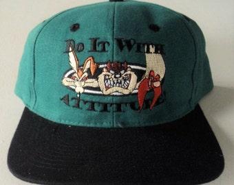 Vintage Looney Tunes 90's Snapback Hat VTG