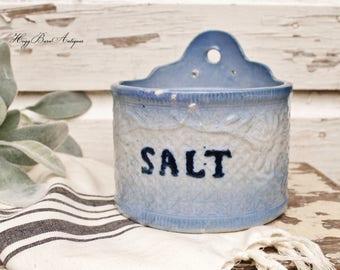 Antique Salt Cellar Crock Ironstone Blue Stoneware Jar Bowl Farmhouse Decor Fixer Upper Decor Vintage Crock