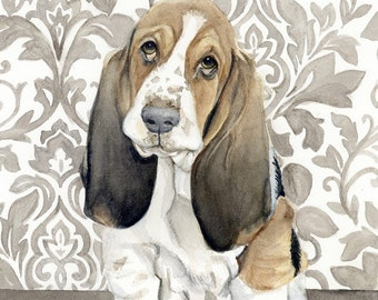 Basset Hound Painting, Animal Art, Hound Painting, Hound Watercolor, Hound Art, Dog Art, Hound Retriever, Dog Decor, Dog Print, Hound Art