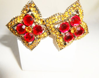 Jay Feinberg Earrings, Vintage Earrings, Red and Amber, Vintage Bead Earrings, Clip-On, Costume Jewelry, Vintage Jay Feinberg