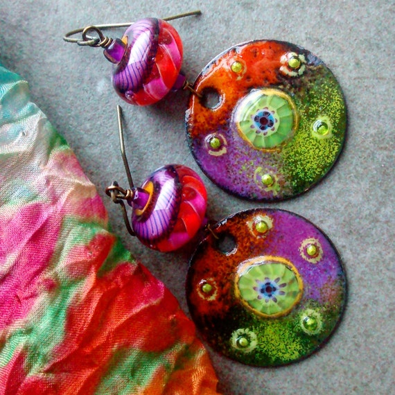 Unique Beaded Periwinkle Seashell Coloring Page: Funky Whimsical Color Saturated Artisan Handmade Dangle