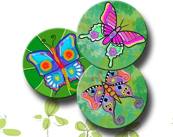 FUNKY BUTTERFLIES -  Printable Digital Collage Sheet 12 X 3.5 inch circles for Coasters, Greeting Cards, Gift Tags.  Instant Download #226.