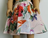 Pretty Blush Floral midi skirt for 18 inch dolls by The Glam Doll
