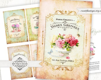 Bon Appetit ATC/ACEO. Set of 6 cards 6x9 cm. Vintage French tags. Digital collage sheet for scrapbooking or packaging.