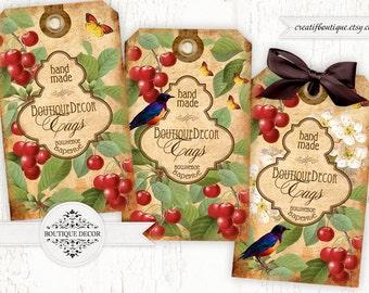 Cherry Confiture. Digital collage sheet. Set of 3. Printable download.