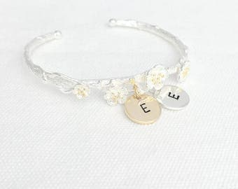 Initial Bangle, Initial Bracelet, Branch Bracelet, Personalized Jewelry, Cherry Blossom, Silver Bracelet, Bridesmaid Gifts, Gifts for Girls