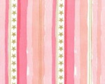 Fabric Michael Miller Fabric Magic! Stars and Stripes by Sarah Jane Pink Cotton Metallic Fabric