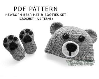 PATTERN ONLY - Crochet Newborn Bear Hat and Booties Set - Baby Pattern - Crochet Bear Hat Pattern - Baby Bear Hat - Crochet Baby Hat Pattern