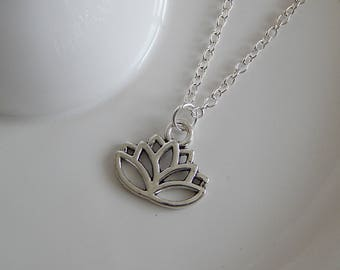 Silver Lotus Flower Charm Necklace, Lotus Flower Charm Pendant, Silver Lotus Necklace, Lotus Flower Choker, Spiritualist Necklace