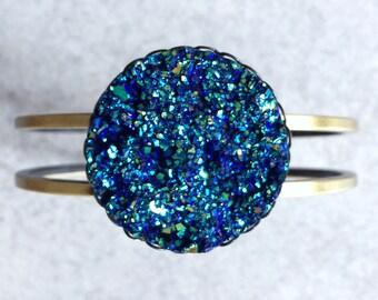 Blue Druzy Bangle - Large, Faux Quartz Geode, Antique Bronze Bracelet Base, Teal, Cobalt, Green, Navy, 30mm Stone Cabochon, Mystical, Wiccan