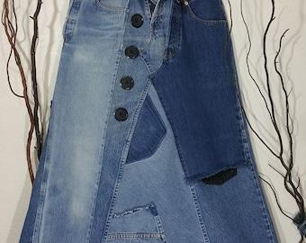 Women's Maxi Jean Skirt Levi Strauss Faded Denim Handmade Eco-friendly Recycled Upcycled Jeans. Boyfriend, High Waist, Patch Denim