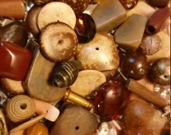 Brown Tan Earthtones Bead Destash Bead Soup Mix