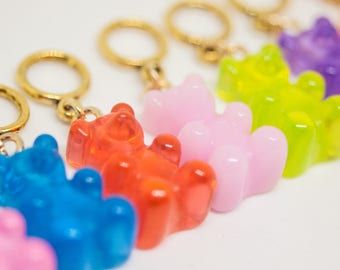 Handmade Snag-free Stitch Markers - Rainbow Gummy Bears - Fun Quirky Knitter Gift