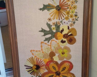 70's Embroidery Crewel Vintage floral wall art