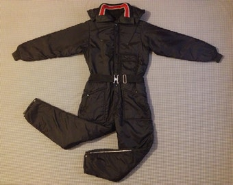 1970's, snowsuit, in black, by Osh Kosh Sportswear, Boys size Large, Women's size Small/XS