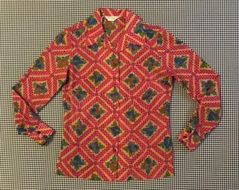 1970's, button up, collar shirt, in diamond, floral print, by Alex Coleman, Women's size Medium