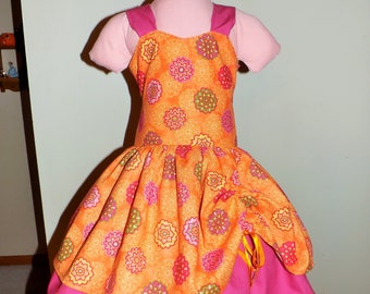 Orange and pink floral Double skirted Dress Size 6 Ready to Ship